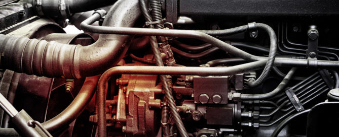 A classic fragment of diesel car engine or truck engine